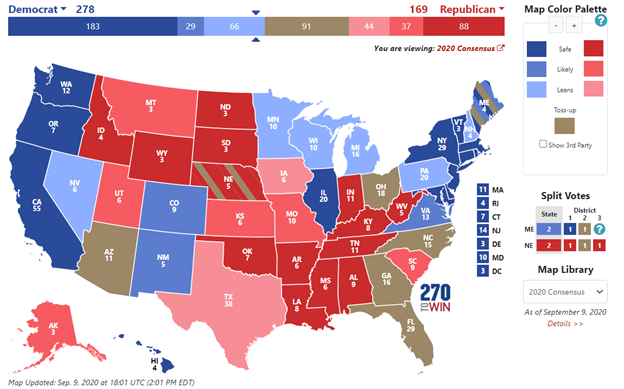 Source: 270 to Win. 2020 Presidential Election Interactive Map. Accessed 13 September 2020: https://www.270towin.com/ .