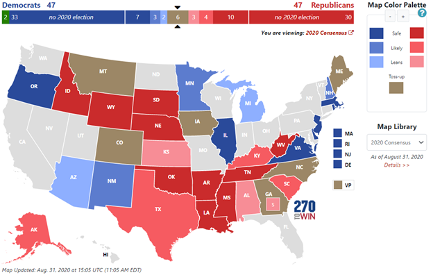 Source: 270 to Win. 2020 Senate Elections: Consensus Forecast. Accessed 13 September 2020: https://www.270towin.com/2020-senate-election/consensus-2020-senate-forecast .
